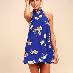 Royal Blue Floral Print Swing Dress NWT